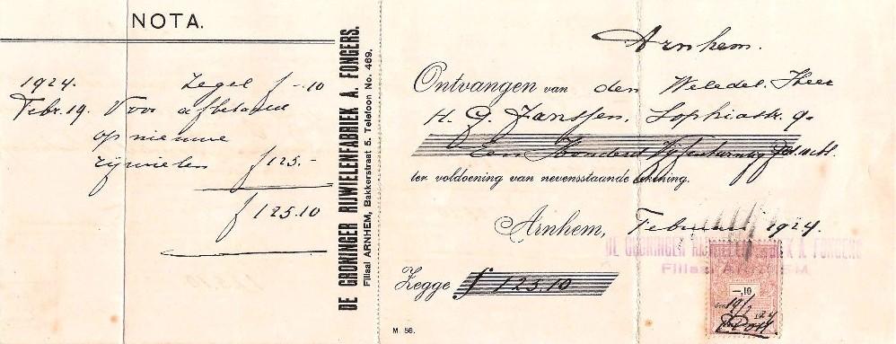 Nota behorende Bij Fongers HH 60 uit 1923