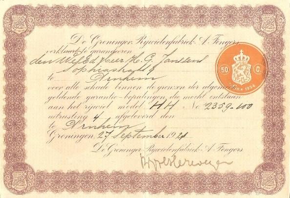 Garantiebewijs behorende Bij Fongers HH 60 uit 1923