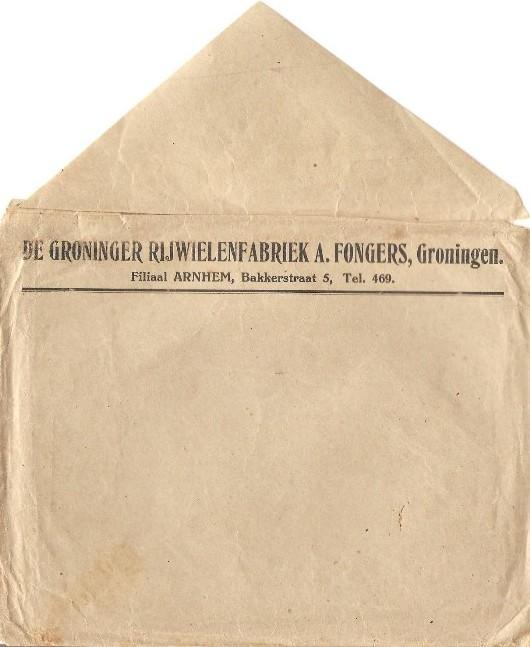 Envelop van De Groninger Rijwielenfabriek A. Fongers Groningenbehorende Bij Fongers HH 60 uit 1923
