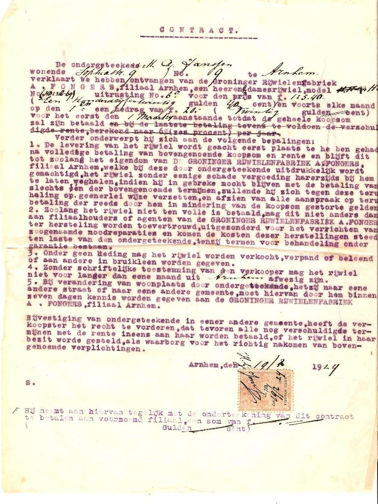 Contract behorende bij Fongers HH 60 uit 1923