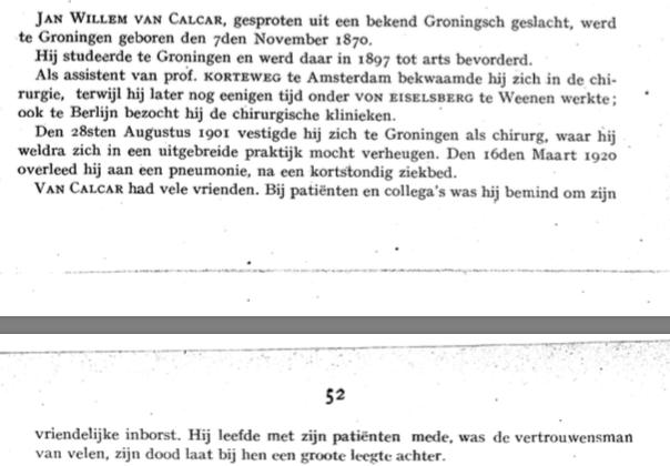 In memoriam J.W. van Calcar